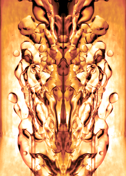 The colour-enhanced high-speed image illustrates a high velocity water jet breaking a stream of kerosene by inducing waves, which can cause oil ligament breakup and drop detachment. The mirrored images of these generated waves can have forms, which to the pattern-seeking human eye can transform into familiar yet unexpected figures.