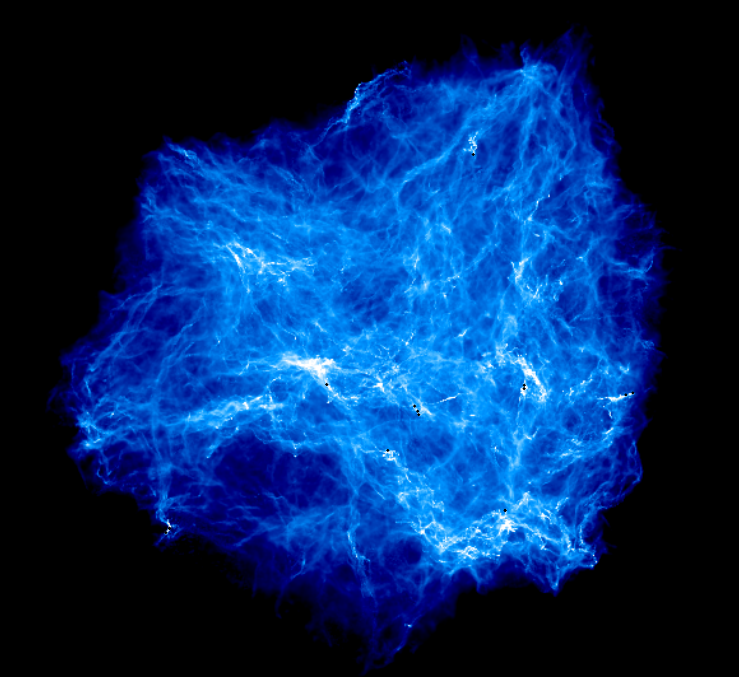 This image is a projection of a 3D simulation of a massive gas cloud (tens of thousands times the mass of our Sun). The brighter regions indicate more dense areas where the gas is collapsing under gravity, and the black dots are where this chaotic collapse has created a star.