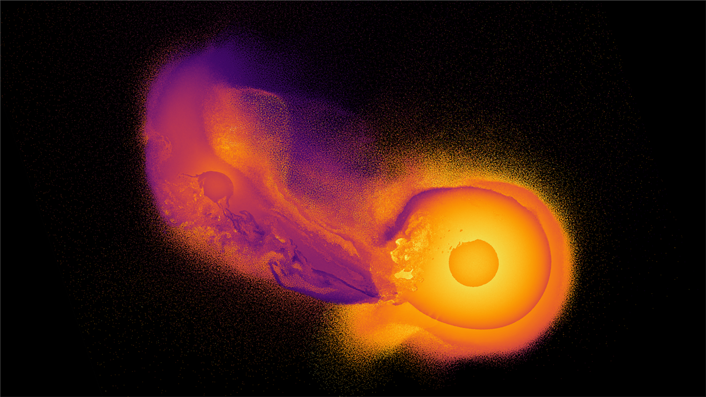 An SPH simulation of the giant impact of a protoplanet twice the mass of Earth crashing into the young Uranus, thought to explain the planet's unique tilted spin, using an unprecedented 100,000,000 simulation particles - 1000 times more than the current standard - coloured by their thermal energy.