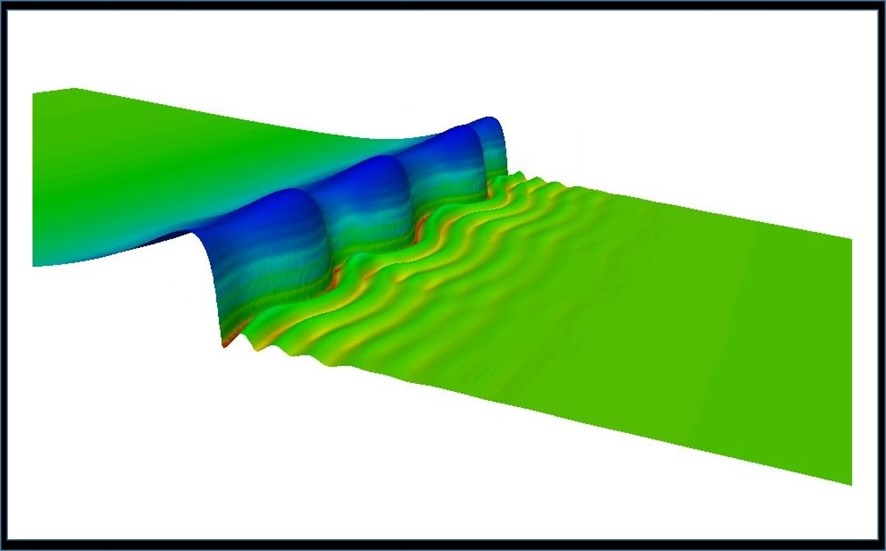 A snapshot from a three-dimensional direct numerical simulation of a falling liquid film with inlet forcing is shown. The wave structure shows a large solitary hump preceded by series of front-running capillary ripples and succeeded by a long flat tail. The film Reynolds number is 100. The simulation has been carried out with 56 cores.