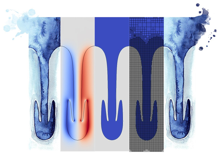 Multi-physics system consisting of a heavy fluid sinking into lighter fluid, externally controlled using electric fields. Central three images (not enhanced, left to right): vorticity field, fluid phases, underlying computational grid. Side images: dedicated watercolour paintings of the instability by illustrator and collaborator Anca Pora (https://ancapora.com/).