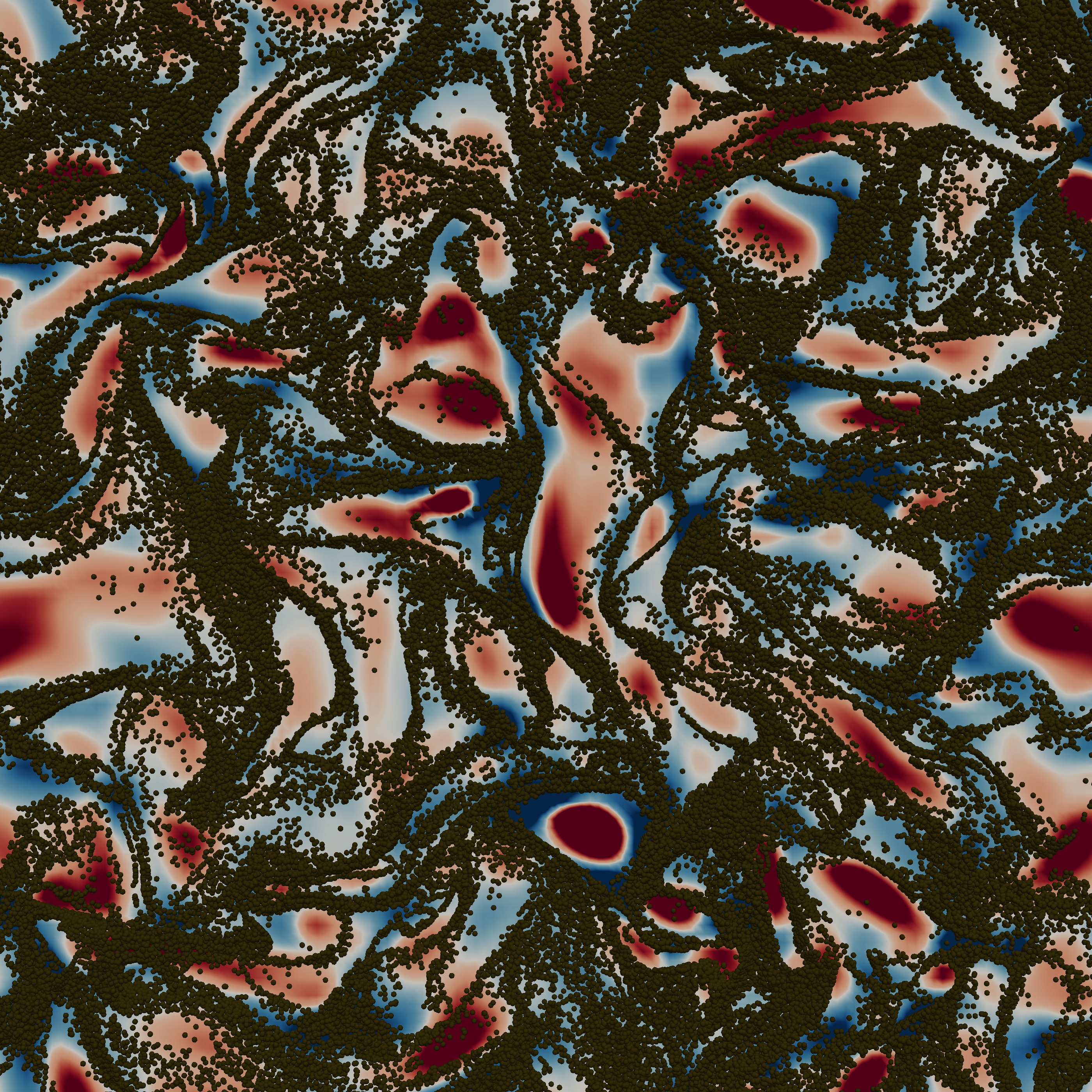 <p>Slice from a 3D two-way coupled DNS homogeneous isotropic turbulent flow containing 20 million solid particles. The background represents the Okubo-Weiss parameter, with particles avoiding red zones (vorticity overwhelms strain) and concentrating in the blue regions (the opposite). Taylor Reynolds is 35.4, Stokes 0.4 and mass loading 0.5.</p>