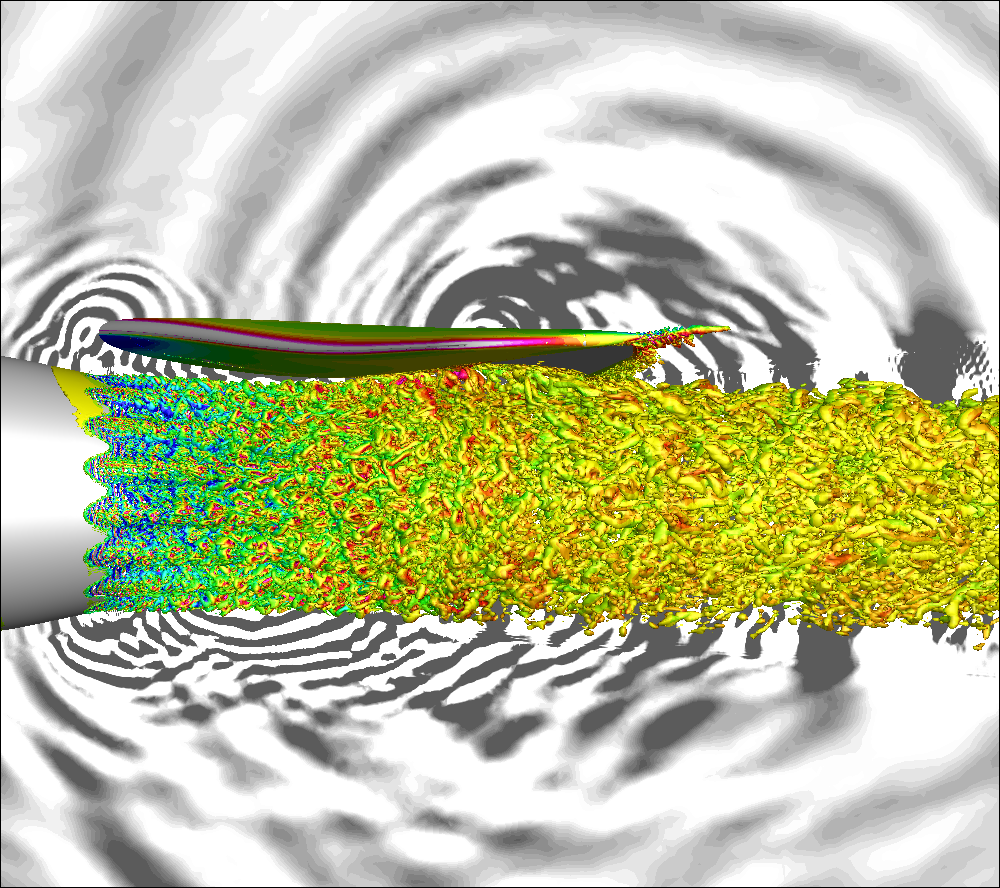 Jet noise is the dominant source when the aircraft takes off. It can be even higher when the engine is installed closed to the wing. The additional noise can be caused by nonlinear hydrodynamic jet-wing interactions and linear TE acoustics scatterings. Large-eddy simulation is performed to understand noise sources, and noise reduction technology is explored using serrated nozzles.